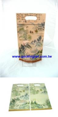 中國山水牛皮手提立袋