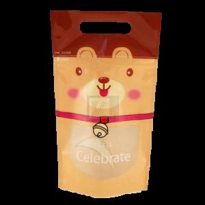 淘氣狗狗手提夾鏈立袋(咖啡色)