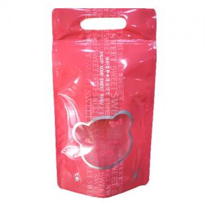BP4825 粉紅甜蜜熊手提夾鏈立袋